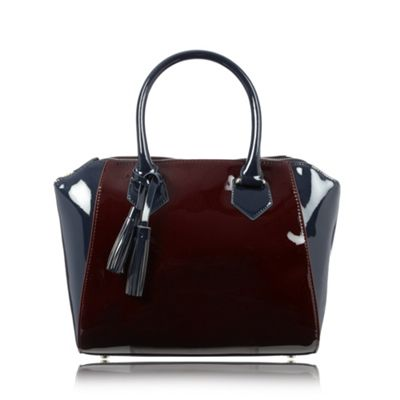 The Collection Navy patent winged grab bag - One Size.  Size - One Size