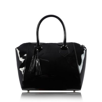 The Collection Black patent winged grab bag - One Size.  Size - One Size