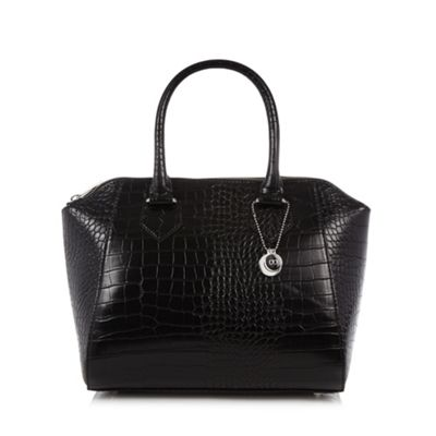 The Collection Black mock croc winged grab bag - One Size.  Size - One Size