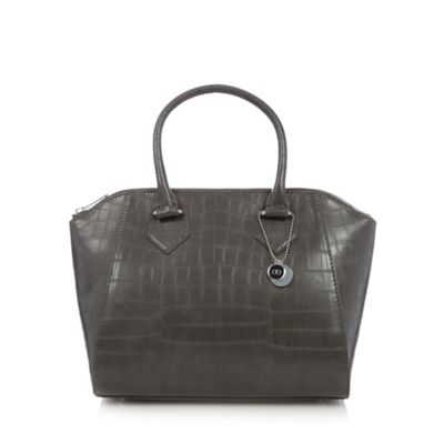 The Collection Grey mock croc winged grab bag - One Size.  Size - One Size