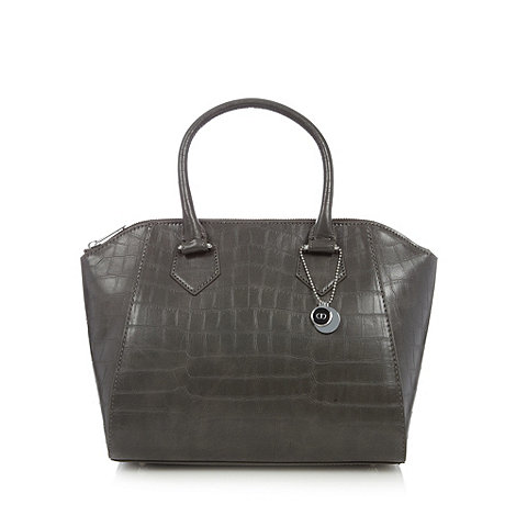 The Collection - Grey mock croc winged grab bag