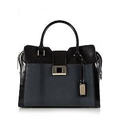 Butterfly by Matthew Williamson - Designer black enamel lock tote bag