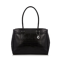 The Collection - Black mock croc panel shoulder bag