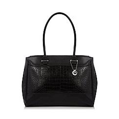 The Collection - Black mock croc panel shoulder bag