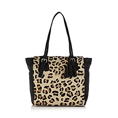The Collection - Black leather leopard front tote bag