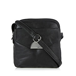 The Collection - Black flap over pocket cross body bag