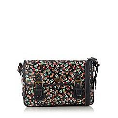 Mantaray - Navy floral coated canvas satchel bag