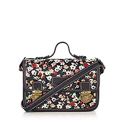 Mantaray - Navy canvas coated floral print satchel