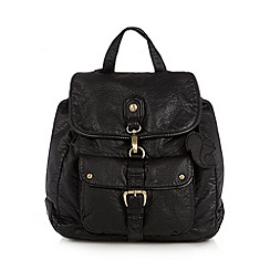Mantaray - Black washed effect PU backpack