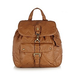 Mantaray - Tan washed effect PU backpack