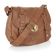 Tan small satchel handbag