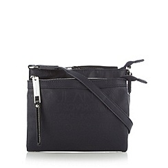 Versace Jeans - Navy embossed double zip cross body bag