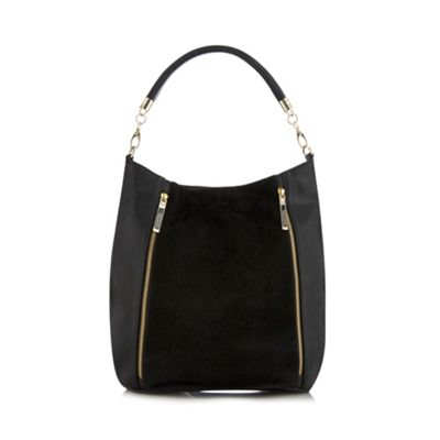 Butterfly by Matthew Williamson Designer black faux pony hair hobo bag - . -