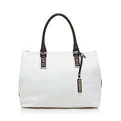 J by Jasper Conran - Designer white leather snakeskin side large grab bag