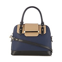 J by Jasper Conran - Navy enamel bar colour block grab bag