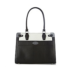 J by Jasper Conran - Designer black snakeskin metal corner tote bag