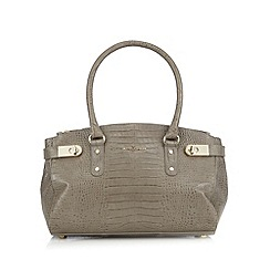 J by Jasper Conran - Designer grey leather croc effect triple compartment grab bag