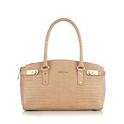 J by Jasper Conran - Designer camel leather croc effect triple compartment grab bag