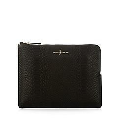 J by Jasper Conran - Designer black leather snakeskin effect clutch bag