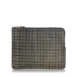 Designer black leather textured clutch bag