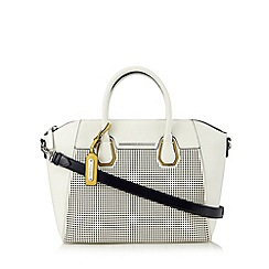J by Jasper Conran - Designer white perforated large grab bag