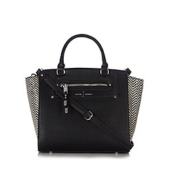 J by Jasper Conran - Designer black chevron straw grab bag