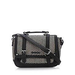 J by Jasper Conran - Designer black chevron straw satchel bag
