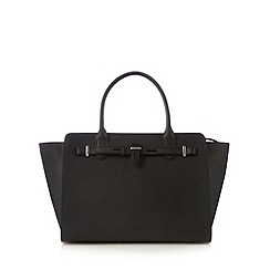 Betty Jackson.Black - Designer black large belt trim tote bag