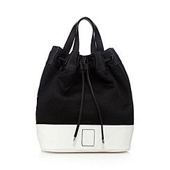 Betty Jackson.Black - Designer white perforated large duffle bag