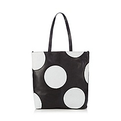Betty Jackson.Black - Designer black leather spotted tote bag