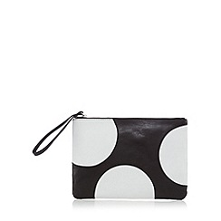 Betty Jackson.Black - Designer black leather spot clutch bag