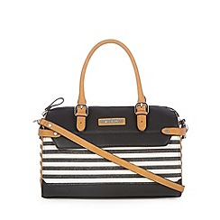 Principles by Ben de Lisi - Designer black striped canvas bowler bag