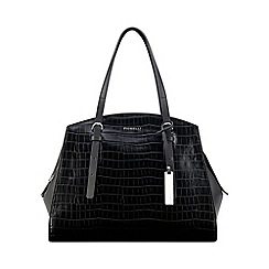 Butterfly by Matthew Williamson - Designer black faux snakeskin flap over large grab bag