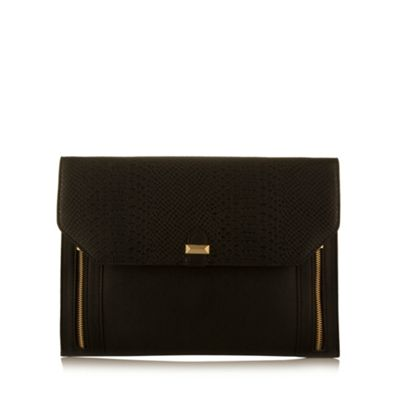 Butterfly by Matthew Williamson Designer black faux snakeskin flap over clutch bag - . -