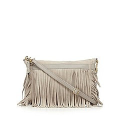 Butterfly by Matthew Williamson - Designer grey fringe leather cross body bag
