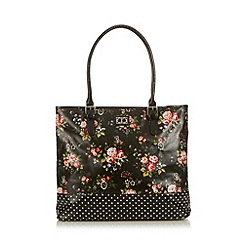 The Collection - Black coated floral and polka dot canvas shopper bag