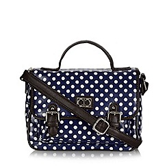 The Collection - Navy spotted canvas satchel bag