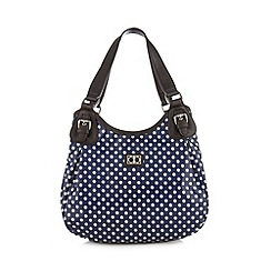 The Collection - Navy spotted canvas scooped shoulder bag