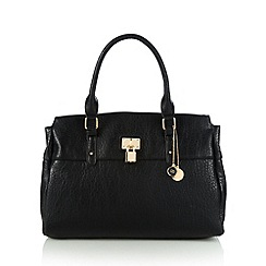 The Collection - Black grained padlock detail shoulder bag
