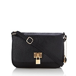 The Collection - Black grained padlock detail cross body bag
