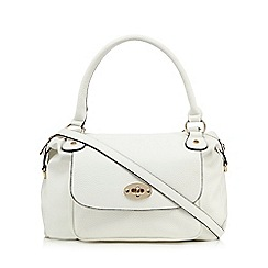 The Collection - White front pocket bowler bag