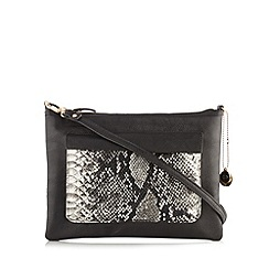 The Collection - Black snake print cross body bag
