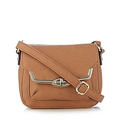 The Collection - Tan metal edge small cross body bag