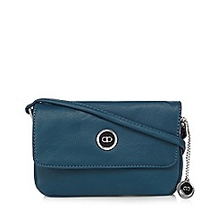 The Collection - Dark turquoise enamel logo small cross body bag