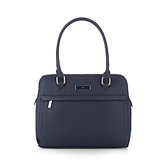 The Collection - Navy crosshatch bowler bag