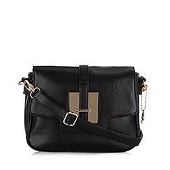 The Collection - Black tab front cross body bag