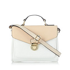 The Collection - White push lock colour block satchel bag