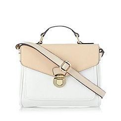 The Collection - White push lock colour block satchel bag
