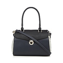 The Collection - Navy push lock colour block shoulder bag