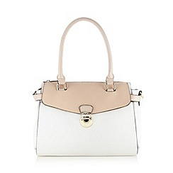 The Collection - White push lock colour block shoulder bag